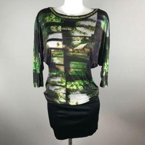 Custo Barcelona House Print Dolman Sleeve Dress XS